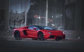 Картинка красный, Roadster, Lamborghini, Aventador