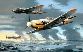 Картинка рисунок, арт, Messerschmitt, Bf.109, одномоторный поршневой истребитель-низкоплан, Heinkel He 111, Художник Nicolas Trudgian, немецкий средний …
