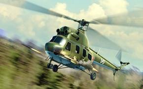 Картинка art, helicopter, painting, Mi-2