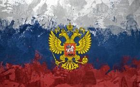 Обои орел, флаг, герб, россия, триколор, сам сделал (=