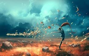 Картинка листья, девушка, поза, ветер, арт, вихрь, жест