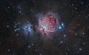 Картинка космос, звезды, звёздное скопление, туманность Ориона