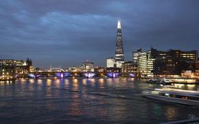 Картинка london, river, sky, night, tower bridge, shard, londres, thamesis, united kingdon, london bridge, shard tower, …