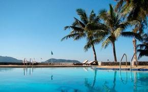 Картинка пейзаж, пальмы, бассейн