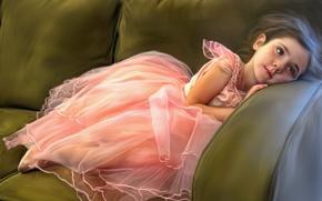 Картинка девочка, диван, отдых, балерина, текстура