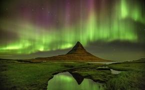 Картинка звезды, ночь, сияние, гора, вулкан, Исландия