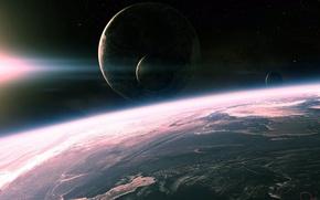 Картинка космос, поверхность, свет, планеты, space, light, planets