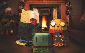Картинка новый год, jake, время приключений, джейк, adventure time, финн, finn, бимо, bimo