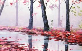 Обои осень, листья, деревья, природа, река, арт, красные, речка, artsaus
