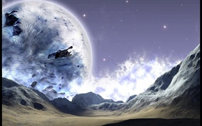 Картинка небо, луна, планеты