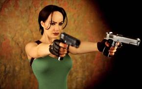 Картинка грудь, девушка, пистолеты, lara croft, tomb raider, cosplay