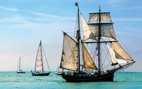 Картинка море, небо, лодка, корабль, парусник, яхта