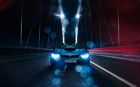 Картинка Car, Color, Blue, Bridge, Sport, Front, BMW, Rain
