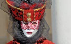 Картинка взгляд, девушка, маска, костюм, карнавал