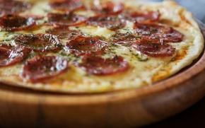 Картинка сыр, пицца, колбаса, тесто