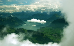 Картинка облака, горы, природа, озеро