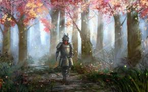 Картинка осень, трава, листья, лучи, деревья, природа, человек, доспехи, арт