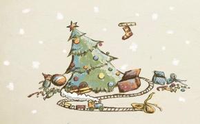 Картинка праздник, игрушки, рисунок, елка, подарки