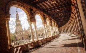 Обои мост, люди, площадь, фонтан, Испания, колоны, Spain, Севилья, Андалусия, Andalucía, Sevilla, Plaza de España