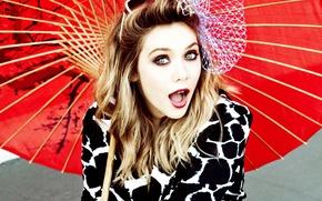 Картинка взгляд, девушка, зонтик, милая, макияж, актриса, очки, блондинка, красавица, красивая, бант, симпатичная, выражение, мимика, Elizabeth …