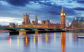 Лондон река мост дома гиб бэн часы