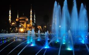 Картинка ночь, огни, фонтан, мечеть, Стамбул, Турция, минарет, София