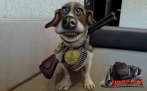 Картинка собака, медаль, ружье, карикатура, погоны, патронташ, пограничник