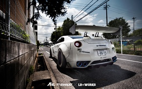 Обои Liberty Walk, R35, Fi Exhaust, тюнинг, Nissan, улица, GTR