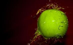 Картинка вода, капли, брызги, зеленый, яблоко
