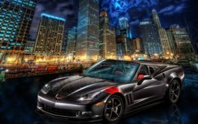 Картинка город, Corvette, Chevrolet, ночной город, небоскрёбы, Chevrolet Corvette
