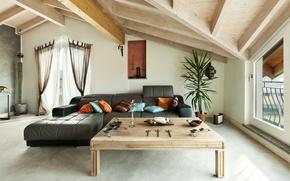 Картинка стол, мебель, интерьер, гостиная, living room, interior, table, furniture, чердак, стильный дизайн, этнической, loft, ethnic, …