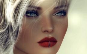 Картинка глаза, девушка, лицо, фон, волосы, помада