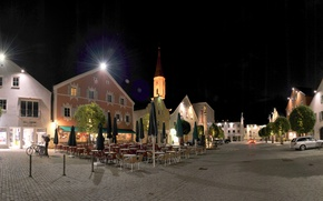 Картинка дорога, ночь, огни, улица, дома, Германия, Бавария, Kelheim