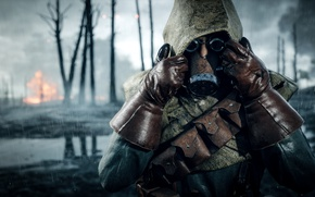 Обои противогаз, солдат, Electronic Arts, Battlefield 1