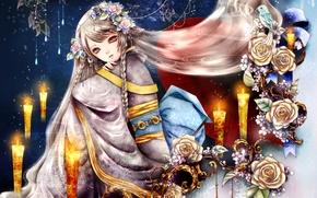 Картинка девушка, цветы, птица, розы, свечи, кимоно, art, косы, Yuki*mami