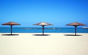 Обои море, зонтик, пляж, песок