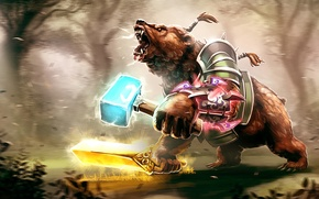 Картинка bear, art, valve, warrior, dota 2, Lone druid