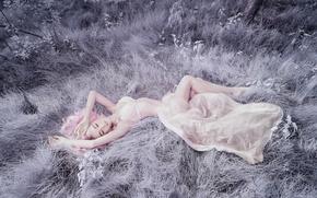 Обои трава, девушка, фигура, лежит