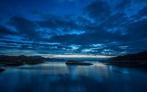Обои острова, горы, ночь, залив