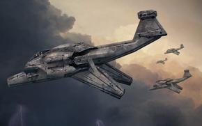 Обои гроза, тучи, Steve Burg, молния, корабль, арт, самолет