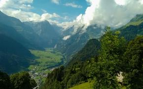 Картинка небо, облака, деревья, горы, Швейцария, Glarus, Glarnerland