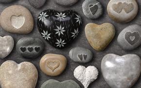 Обои лето, цвета, любовь, фон, рисунок, позитив, сердечки, форма, камушки, морские