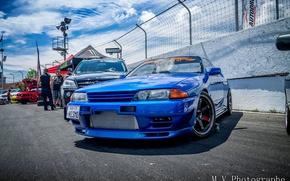 Обои tuning, turbo, japan, datsun, blue, face, wheels, nissan, r32, nismo, front, skyline, racing, gtr, jdm