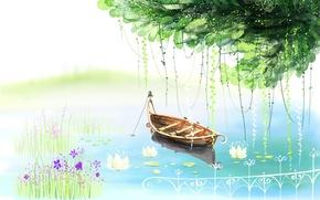 Обои цветы, озеро, дерево, лодка, рисунок, забор, кувшинки