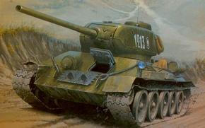 Картинка дорога, рисунок, арт, танк, средний, Т-34-85, Великая отечественная война