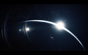 Обои звезды, свет, восход, планета, спутники