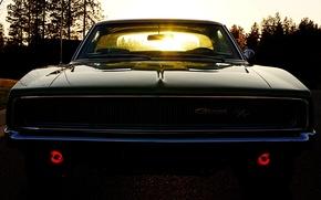 Картинка небо, солнце, Додж, Dodge, полумрак, Charger, передок, 1968, Muscle car, Мускул кар, Чарджер, R/T
