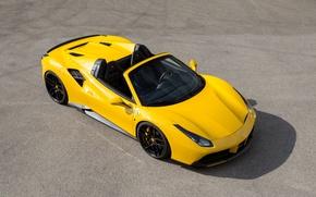 Обои Rosso, автомобиль, Novitec, Ferrari, 488, Spider, капот, передок, тюнинг, новитек, желтый