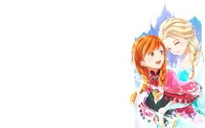 Картинка мультфильм, минимализм, Frozen, принцесса, Анна, сёстры, Эльза, Princess Anna, Холодное сердце, Fairy Tales, Elsa the …