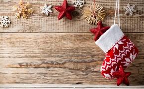 Картинка зима, снежинки, красный, фон, дерево, игрушки, носок, Новый Год, Рождество, декорации, Christmas, звездочки, праздники, New …